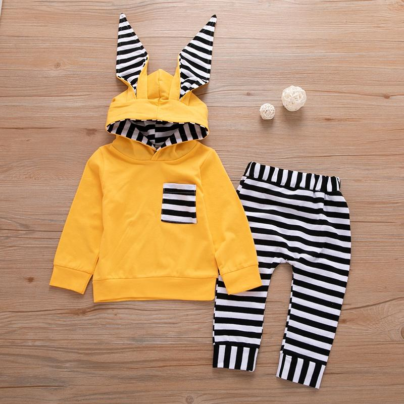 Baby Girl Lovely 3D Ear Decor Hoodies and Striped Pants Set