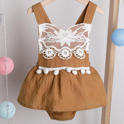 Baby Girl Solid Lace Design Pompom Decor Sleeveless Romper