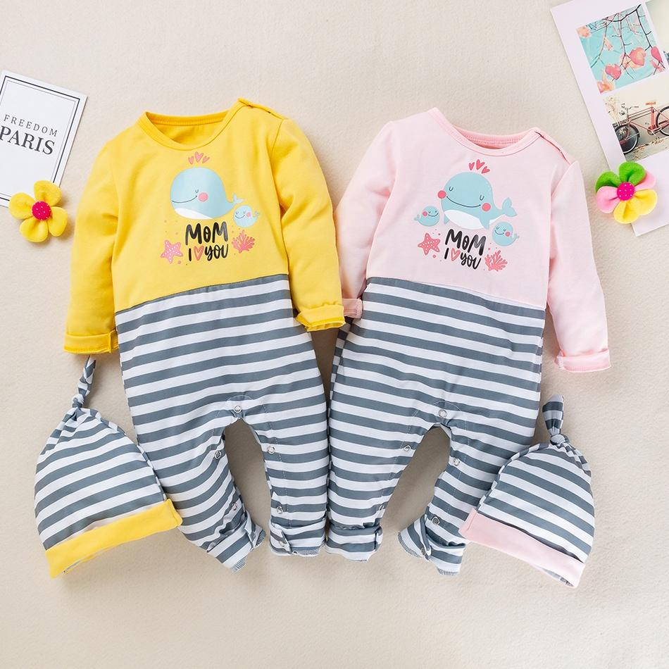 2-piece Baby Whale Print Striped Jumpsuit with Headband Set