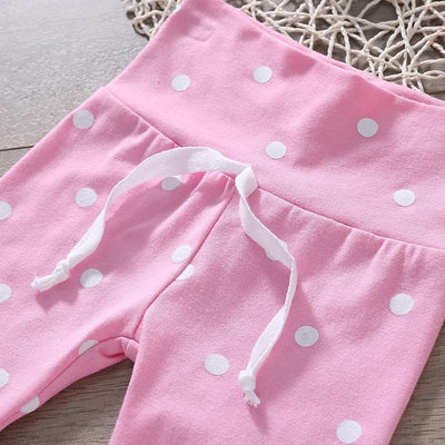 3-piece Baby Girl Lovely Floral Long-sleeves Top and Polka Dots Pants with Headband Set