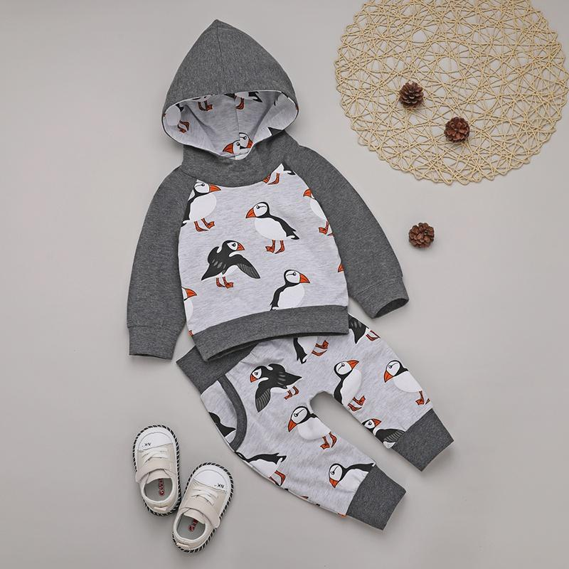 Baby Stylish Bird Print Hooded Top and Pants Set