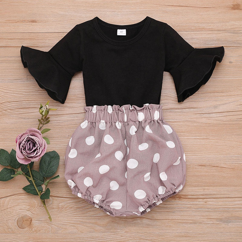 Baby / Toddler Solid Bell Sleeves Bodysuit and Polka Dots PP Shorts Set