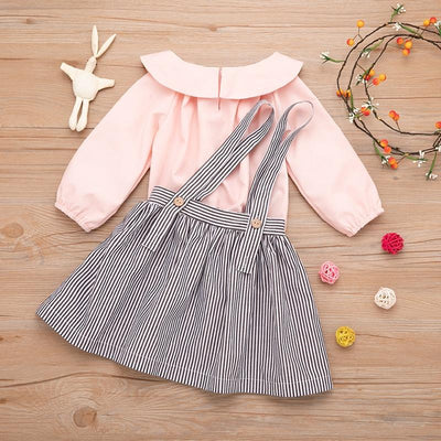 Baby / Toddler Solid Doll Collar Long-sleeve Top and Striped Skirt Set