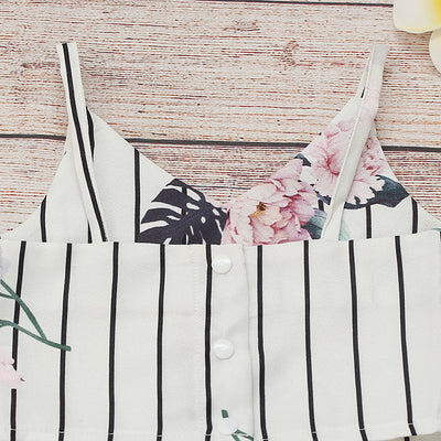 Baby / Toddler Snappy Floral Pretty Strappy Top and Striped Pants Set