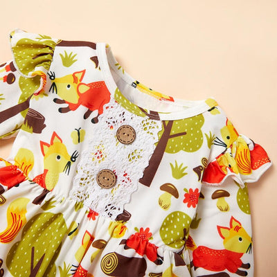 Baby / Toddler Adorable Fox Print Flutter-sleeve Top and Solid Pant Set