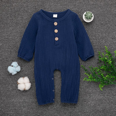 Baby Boy / Girl Knitted Style Solid Long-sleeve Jumpsuit