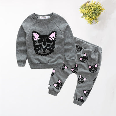 Baby / Toddler Cat Print Sweatshirt and Pants Set