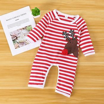 Baby Girl Christmas Pompom Decor Reindeer Embroidery Long-sleeve Jumpsuit