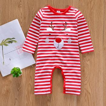 Baby Christmas Style Deer Decor Red Striped Long-sleeve Jumpsuit
