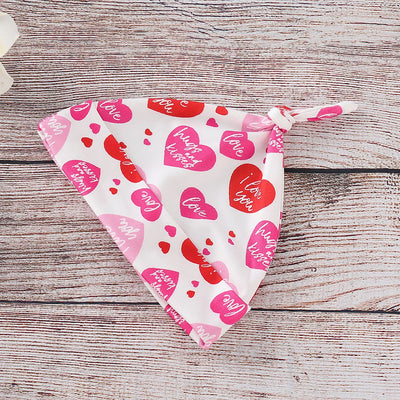 Baby Girl Valentine's Day Print Bodysuit, Pants and Hat with Headband Set