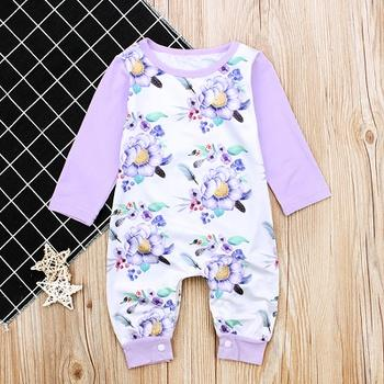 Baby Girl Floral Allover Long-sleeve Jumpsuit