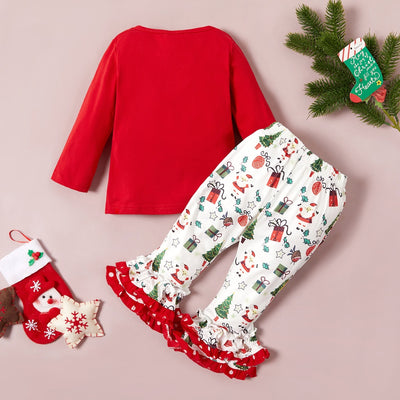 Christmas Baby / Toddler Letter Print Top and Bellbottom Pants Set