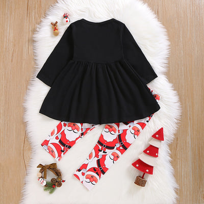 Baby / Toddler Christmas Santa Applique Embroidered Dress Top and Pants Set