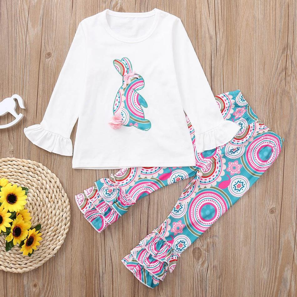2019 2-Piece Easter Bunny Flounced Sleeve Tee Flower Print Bellbottom Pants Baby Girls Sets     3/19/19/11