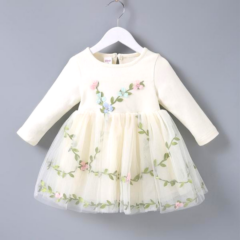 Elegant Floral Applique Long-sleeve Tutu Dress for Baby Girl