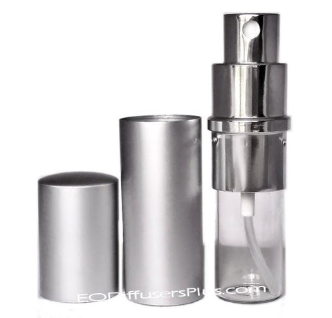 silver aluminum fine mist atomizer sprayer - 10 ml refillable in bulk