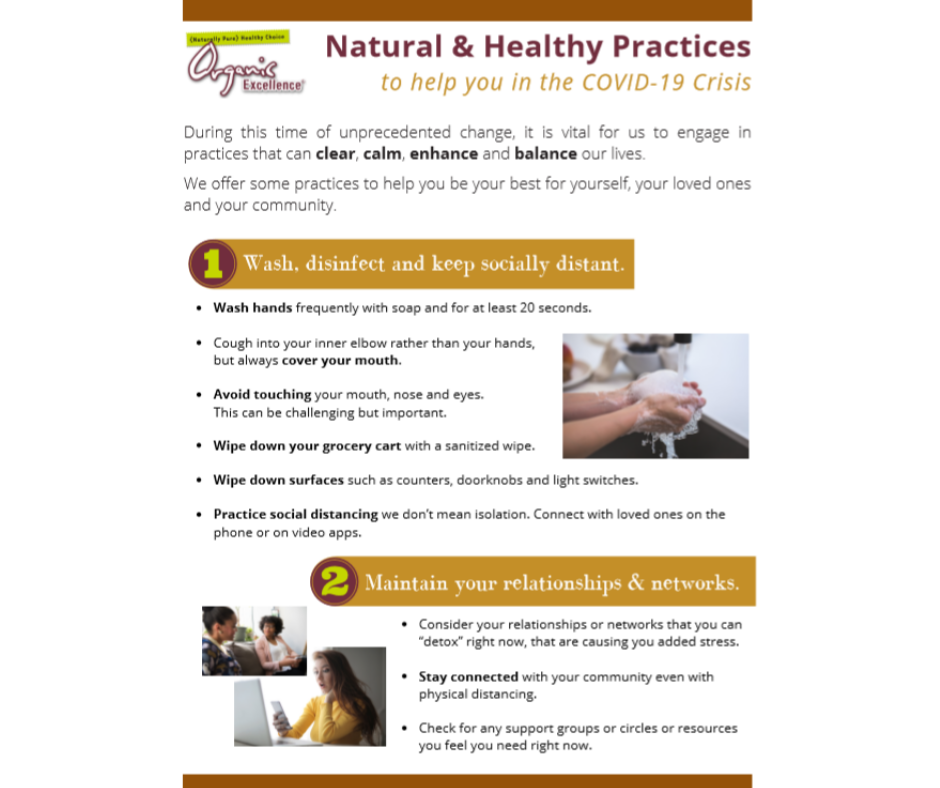Natural & Healthy Practices to Help You in the COVID-19 Crisis