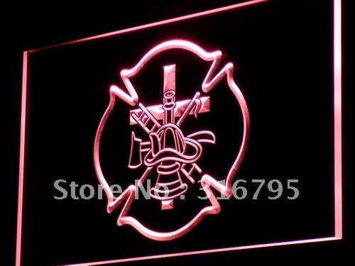 Firefighter Fire Helmet AXE Ladder Light Sign