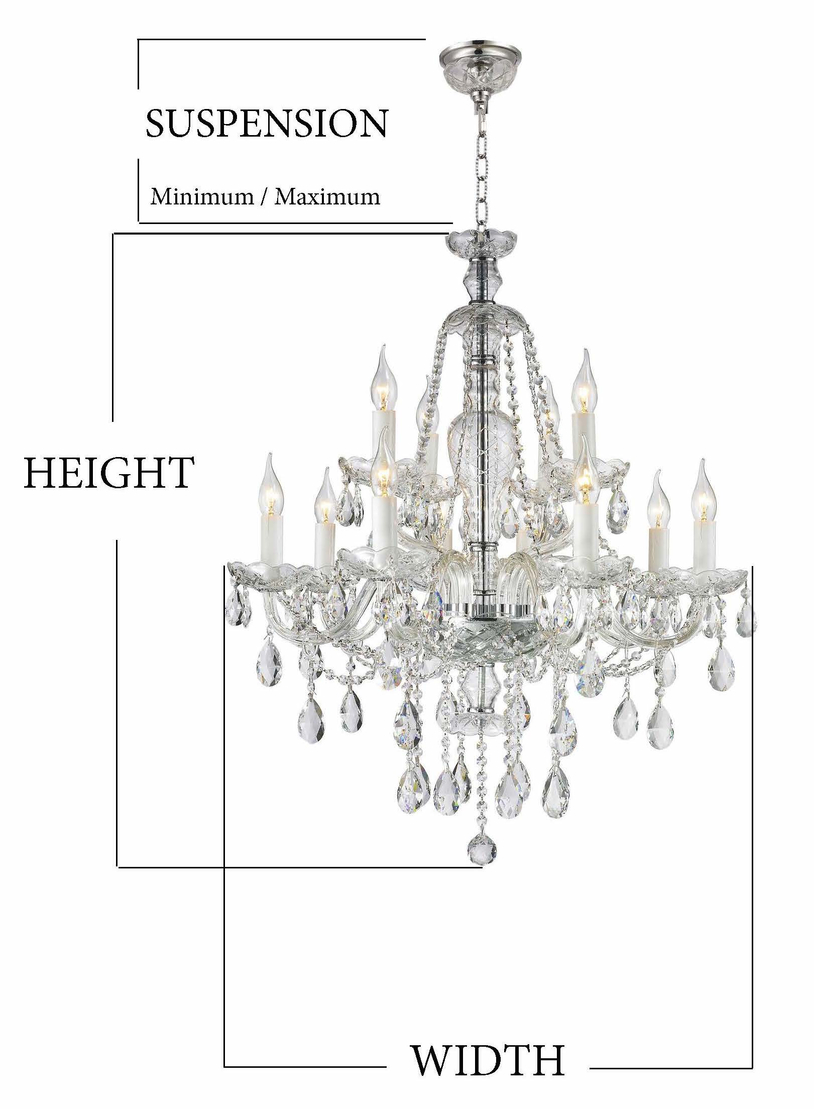 Chandelier Size Guide - Suspension
