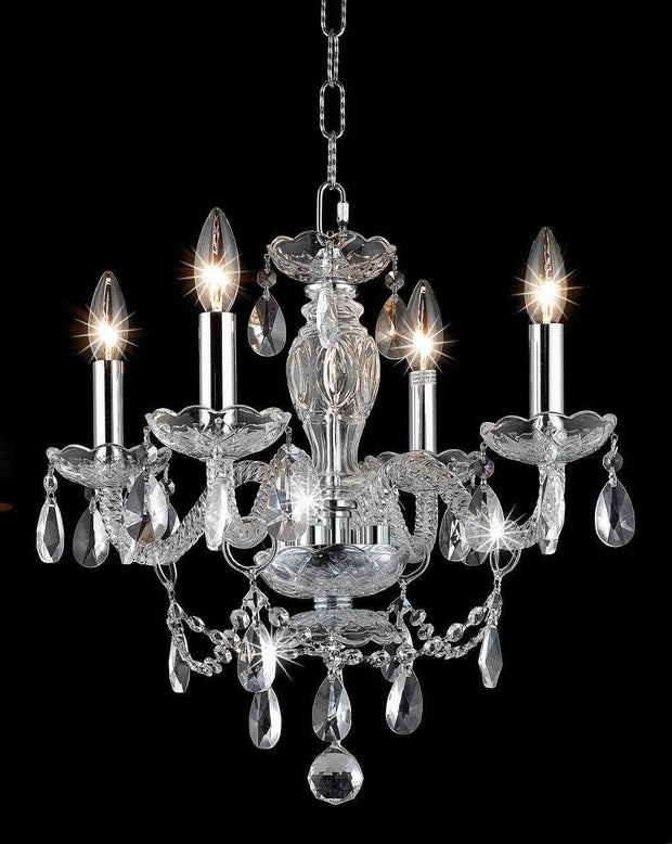 Le Boheme 4 Arm Crystal Chandelier- CHROME - Designer Chandelier