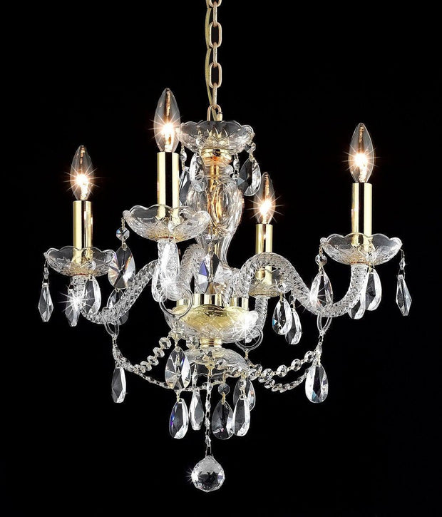 Le Boheme 4 Arm Crystal Chandelier- GOLD - Designer Chandelier