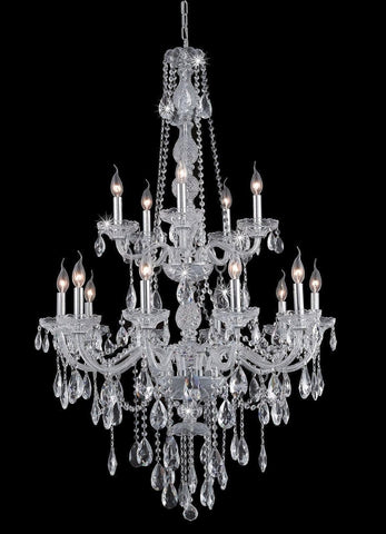 Bohemian Elegance 15 Light Crystal Chandelier- CHROME - Designer Chandelier