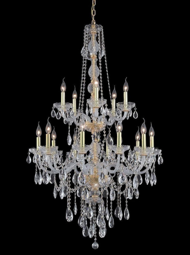 Bohemian Elegance 15 Light Crystal Chandelier- GOLD - Designer Chandelier