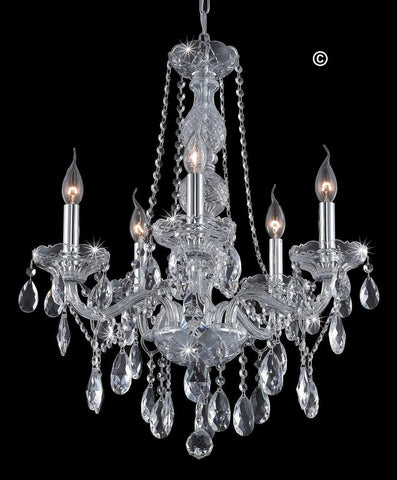 Bohemian Elegance 5 Arm Crystal Chandelier - CHROME - Designer Chandelier