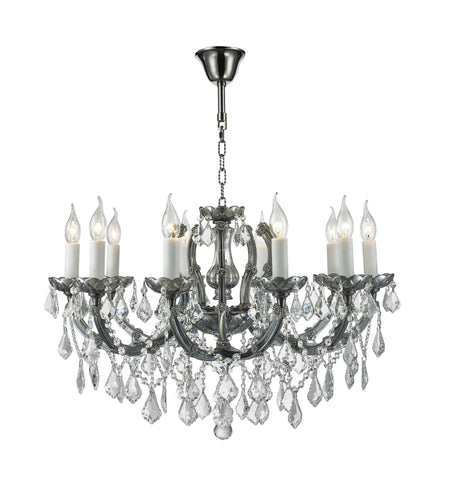 Maria Theresa Crystal Chandelier Grande 10 Light - Smoke Nickel & Clear Crystal - Designer Chandelier