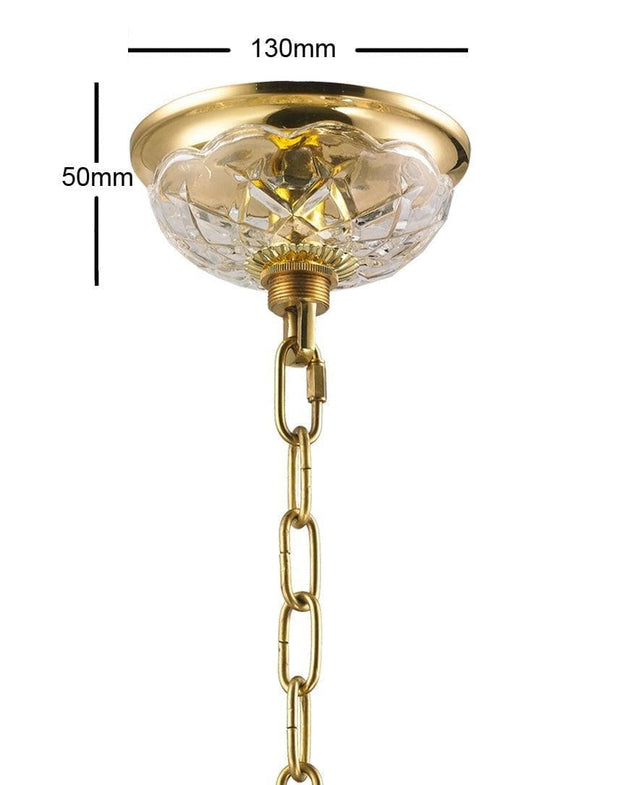 Bohemian Prague 5 Arm Crystal Chandelier - Brass Fixtures - Designer Chandelier