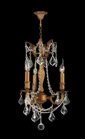 MONACO 3 Arm Chandelier - French Gold