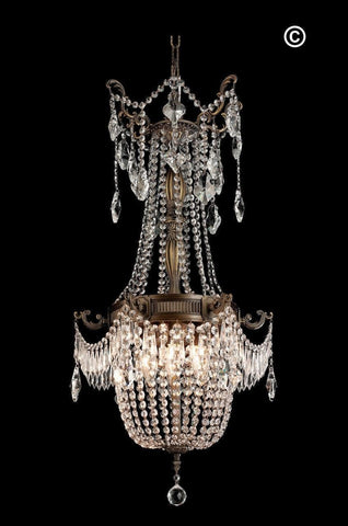 Regency Basket Chandelier -  Antique Brass Style - W:46cm H:96cm