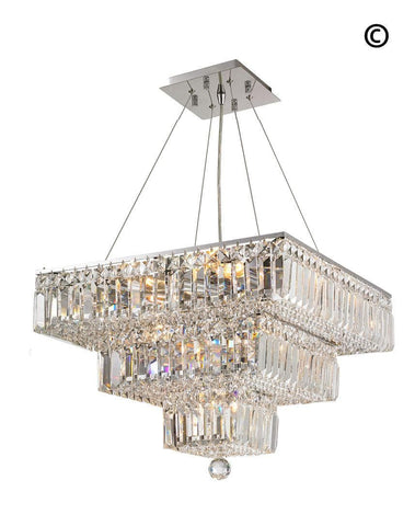 Modular 3 Tier Crystal Pendant - Square - Chrome Fixtures
