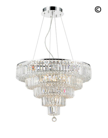Modular 5 Tier Crystal Pendant Light- CHROME - Medium-Designer Chandelier Australia