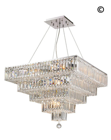 Modular 5 Tier Crystal Pendant 66cm - Square - Chrome Fixtures