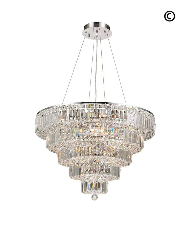 Modular 5 Tier Crystal Pendant Light- CHROME - Large - Designer Chandelier