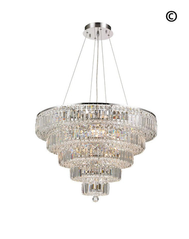 Modular 5 Tier Crystal Pendant Light- CHROME - Large-Designer Chandelier Australia