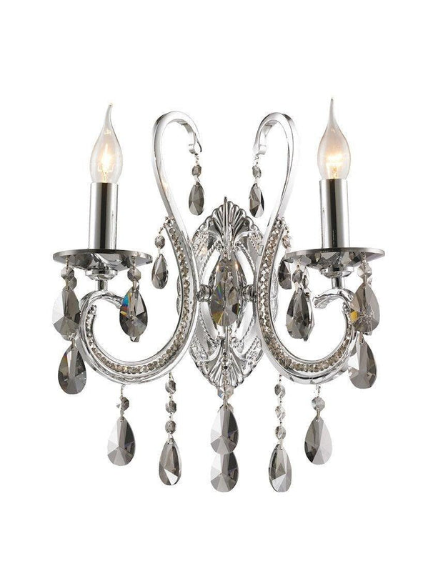 NewYork Princess Wall Sconce - Double Arm - Smoke Crystal - Designer Chandelier