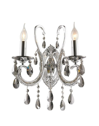 NewYork Princess Wall Sconce - Double Arm - Smoke Crystal - Designer Chandelier  NewYork Princess Wall Sconce - Double Arm - Smoke Crystal - Designer Chandelier