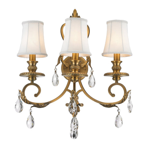 ARIA - Hampton Triple Arm Wall Sconce - Brass - Designer Chandelier