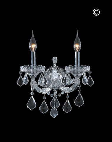 Double Maria Theresa Wall Light Sconce - Chrome Fixtures - Designer Chandelier