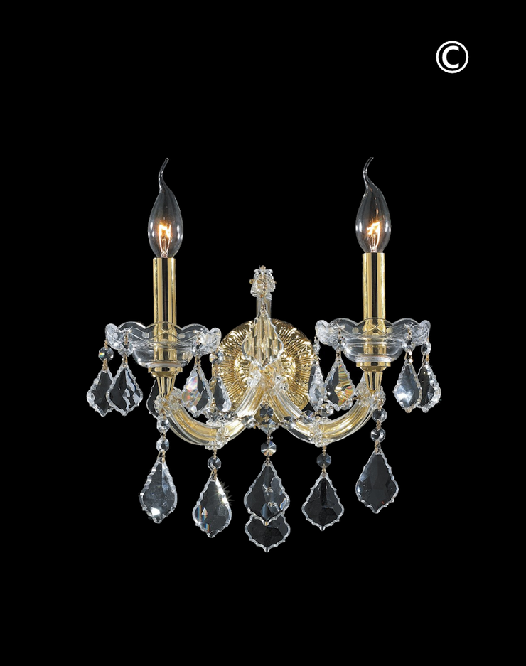 Double Maria Theresa Wall Light Sconce - Gold Fixtures - Designer Chandelier