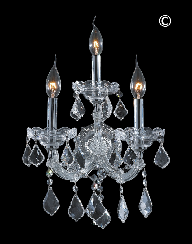 Triple Maria Theresa Wall Light Sconce - Chrome Fixtures - Designer Chandelier