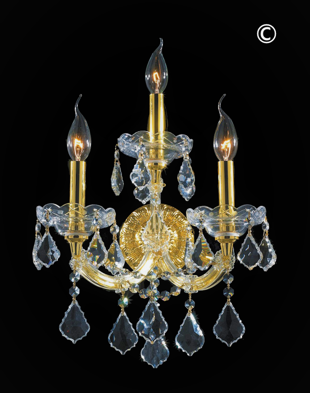 Triple Maria Theresa Wall Light Sconce - Gold Fixtures - Designer Chandelier