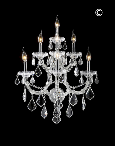 Large 7 Light Maria Theresa Wall Sconce - Chrome Fixtures - Designer Chandelier