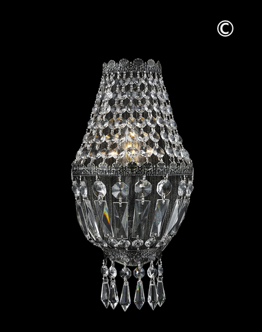 French Basket Wall Sconce Light - Antique SILVER- W:15cm - Designer Chandelier