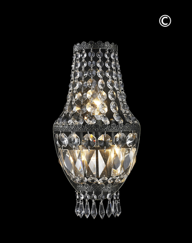 French Basket Wall Sconce Light - Antique SILVER - W:20cm - Designer Chandelier