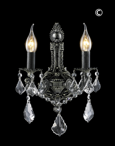 AMERICANA 2 Light Wall Sconce - Edwardian - Antique SILVER - Designer Chandelier