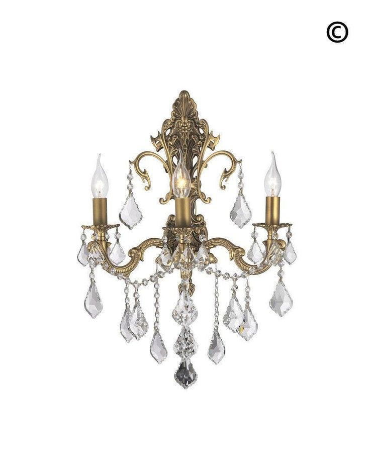 AMERICANA 3 Light Wall Sconce - Brass Finish - Designer Chandelier