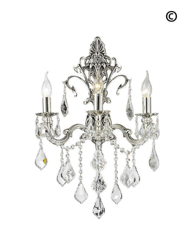 AMERICANA 3 Light Wall Sconce - Silver Plated-Designer Chandelier Australia AMERICANA 3 Light Wall Sconce - Silver Plated-Designer Chandelier Australia